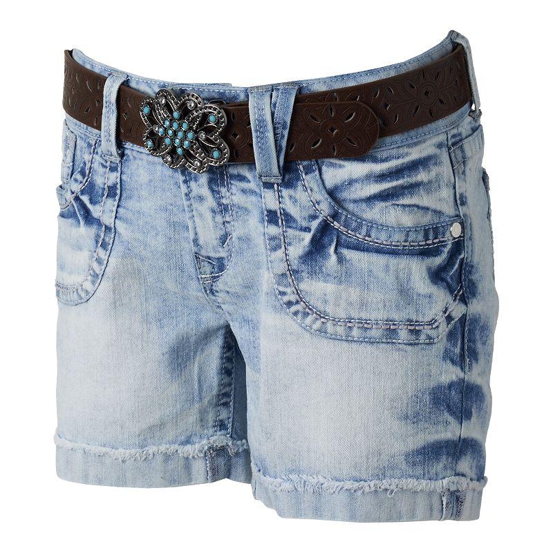 Wallflower Curvy Belted Denim Shorts - Juniors