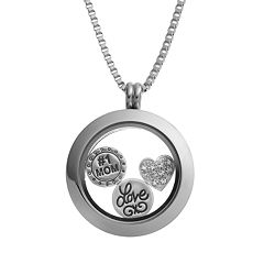 Blue La Rue Crystal Stainless Steel 1 in Round '#1 Mom' Charm Locket - Made with Swarovski Crystals