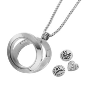"""Blue La Rue Crystal Stainless Steel 1-in. Round """"#1 Mom"""" Charm Locket - Made with Swarovski Crystals"""