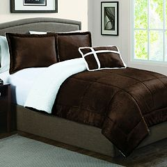 Micromink & Sherpa Down-Alternative Reversible Comforter Set
