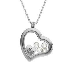 Blue La Rue Crystal Stainless Steel 1.2 in Heart 'Mom' Charm Locket - Made with Swarovski Crystals