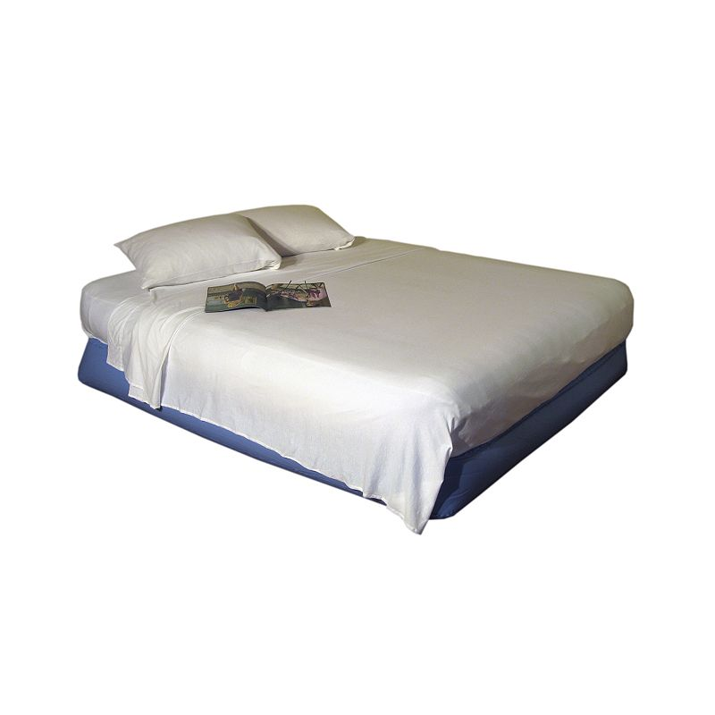 Airbed Essentials Sheets, White, Full Ideal for use with corner-set, bunk or air beds, this Airbed Essentials sheet set delivers convenient comfort. The innovative design attaches the flat sheet to the fitted sheet to keep them in place. In white.Looking for extra pillowcases? .FEATURES Soft jersey fabric TWIN SET Fitted sheet Flat sheet Standard pillowcase FULL SET Fitted sheet Flat sheet 2 standard pillowcases QUEEN SET Fitted sheet Flat sheet 2 standard pillowcases CONSTRUCTION & CARE Cotton Machine wash Imported  Gender: unisex. Age Group: adult. Pattern: Solid.