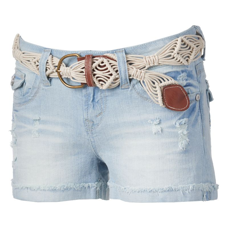Wallflower Deconstructed Denim Shortie Shorts - Juniors