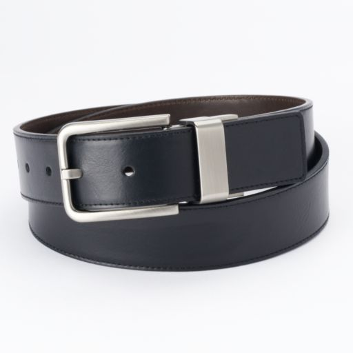 Men's Apt. 9 Black Cut-Edge Stitched Reversible Belt