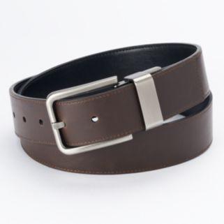 Men's Apt. 9 Black Cut-Edge Stitched Reversible Belt