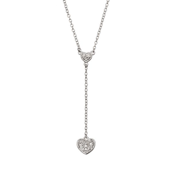 Sterling Silver Heart Y Necklace