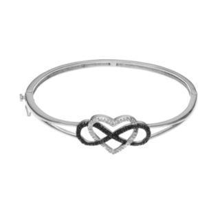 1/4 Carat T.W. Black & White Diamond Sterling Silver Heart & Infinity Bangle Bracelet