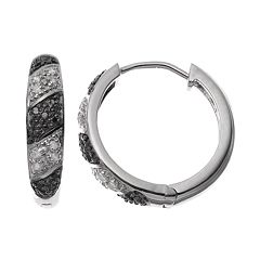 1/4 Carat T.W. Black & White Diamond Sterling Silver Hoop Earrings