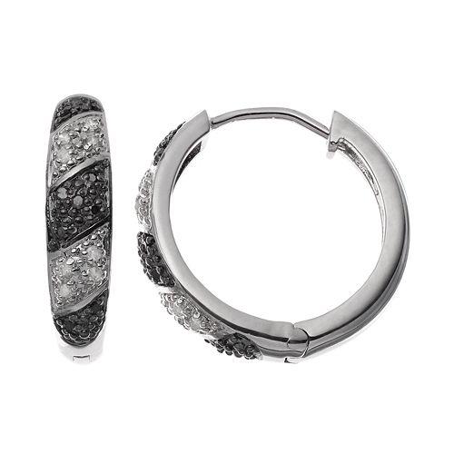 1/4 Carat T.W. Black & White Diamond Sterling Silver Hoop Earrings
