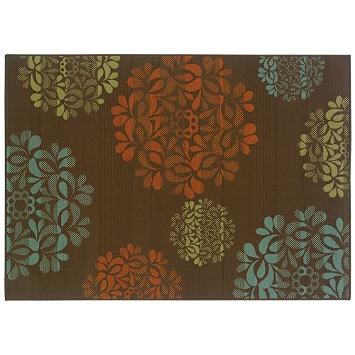 StyleHaven Montgomery Floral Brown Indoor Outdoor Rug