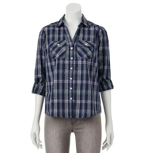 a3b7145993928c Petite Croft   Barrow® Printed Roll-Tab Shirt