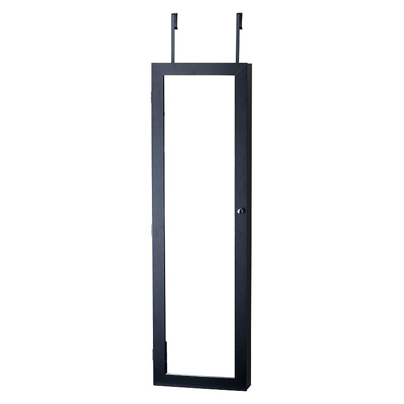 InnerSpace Wall & Over-The-Door Mirror Jewelry Armoire, Black