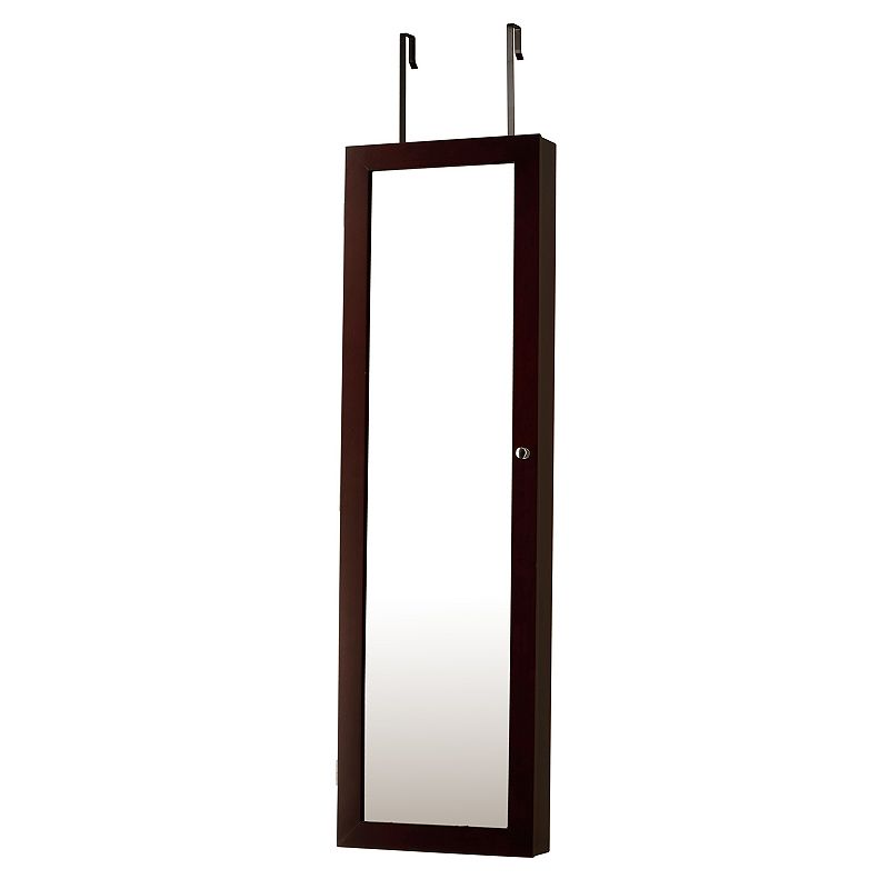 InnerSpace Wall & Over-The-Door Mirror Jewelry Armoire, Brown