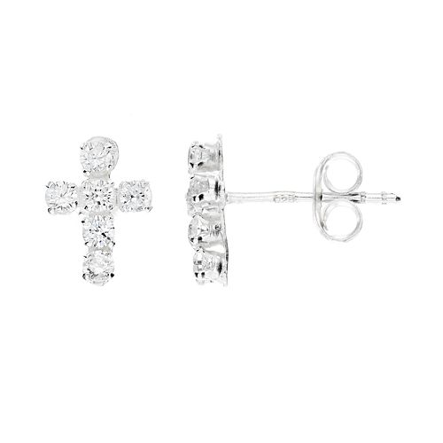 Charming Girl Sterling Silver Cross Stud Earrings - Made with Swarovski Cubic Zirconia - Kids