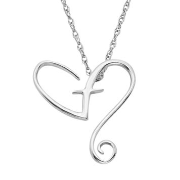 Sterling Silver Heart & Cross Pendant Necklace
