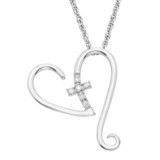 Diamond Accent Sterling Silver Heart & Cross Pendant Necklace