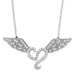 1/3 Carat T.W. Diamond Sterling Silver Heart & Angel Wings Necklace