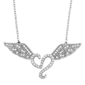 1/3 Carat T.W. Diamond Sterling Silver Heart & Angel Wings Necklace