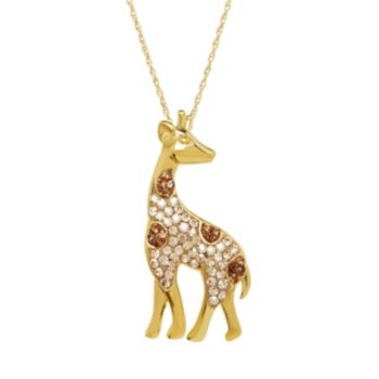 Artistique Crystal 18k Gold Over Silver Giraffe Pendant Necklace - Made with Swarovski Crystals