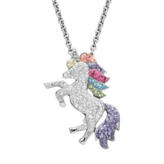 Artistique Crystal Sterling Silver Unicorn Pendant Necklace - Made with Swarovski Crystals