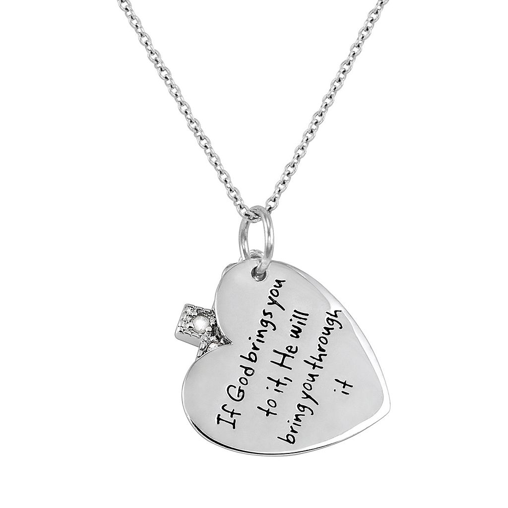 CHARMED BY DIAMONDS 1/10 Carat T.W. Diamond Sterling Silver Inspirational Heart Pendant Necklace