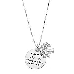 CHARMED BY DIAMONDS 1/10 Carat T.W. Diamond Sterling Silver 'Family' Tree & Disc Pendant Necklace