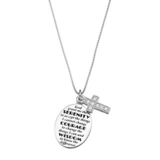 "CHARMED BY DIAMONDS 1/10 Carat T.W. Diamond Sterling Silver ""Serenity"" Prayer Disc Pendant Necklace"