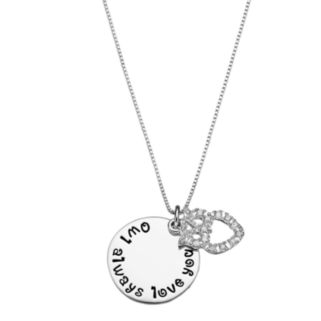 """CHARMED BY DIAMONDS 1/10 Carat T.W. Diamond Sterling Silver """"Owl Always Love You"""" Disc Pendant Necklace"""