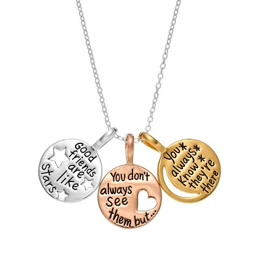 """Timeless Sterling Silver Tri-Tone """"Good Friends"""" Triple Disc Pendant Necklace"""
