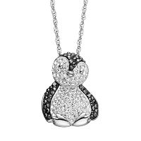 Artistique Crystal Sterling Silver Penguin Pendant Necklace - Made with Swarovski Crystals
