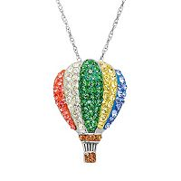 Artistique Crystal Sterling Silver Hot Air Balloon Pendant Necklace - Made with Swarovski Crystals