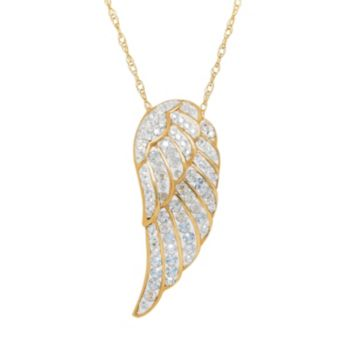 Artistique Crystal 18k Gold Over Silver Angel Wing Pendant Necklace - Made with Swarovski Crystals