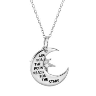 CHARMED BY DIAMONDS 1/10 Carat T.W. Diamond Sterling Silver Inspirational Moon Pendant Necklace