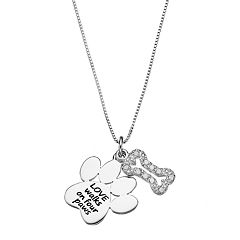 CHARMED BY DIAMONDS 1/10 Carat T.W. Diamond Sterling Silver 'Love' Paw Print Pendant Necklace