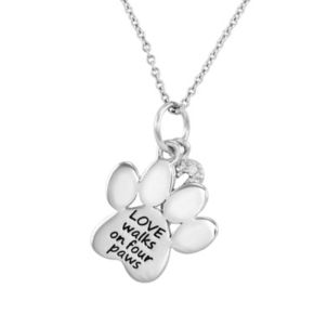 "CHARMED BY DIAMONDS 1/10 Carat T.W. Diamond Sterling Silver ""Love"" Paw Print Pendant Necklace"