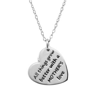 """CHARMED BY DIAMONDS 1/10 Carat T.W. Diamond Sterling Silver """"Mother's Love"""" Heart Pendant Necklace"""