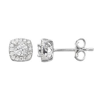 1/5 Carat T.W. Diamond Sterling Silver Halo Stud Earrings