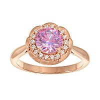 Emotions 18k Rose Gold Over Silver Halo Ring - Made with Swarovski Cubic Zirconia