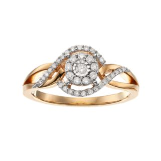 1/4 Carat T.W. Diamond Yellow Rhodium-Plated Sterling Silver Bypass Halo Ring
