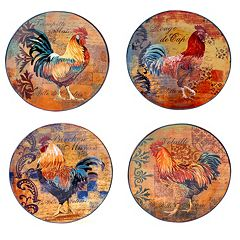 Certified International Rustic Rooster 4 pc Dinner Plate Set