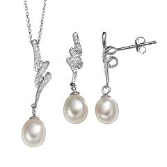 Freshwater Cultured Pearl & Cubic Zirconia Sterling Silver Twist Pendant Necklace & Drop Earring Set
