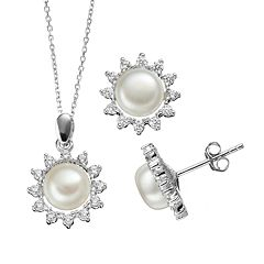 Freshwater Cultured Pearl & Cubic Zirconia Sterling Silver Flower Pendant Necklace & Button Stud Earring Set