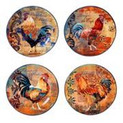 Certified International Rustic Rooster 4 pc Dessert Plate Set