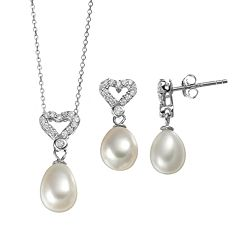 Freshwater Cultured Pearl & Cubic Zirconia Sterling Silver Heart Pendant Necklace & Drop Earring Set