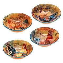 Certified International Rustic Rooster 4 pc Pasta Bowl Set