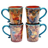 Certified International Rustic Rooster 4 pc Mug Set