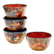 Certified International Rustic Rooster 4 pc Ice Cream Bowl Set