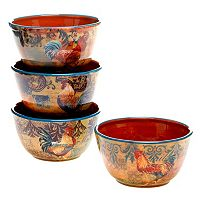 Certified International Rustic Rooster 4-pc. Ice Cream Bowl Set