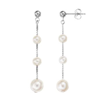 Freshwater Cultured Pearl Sterling Silver Graduated Linear Drop Earrings
