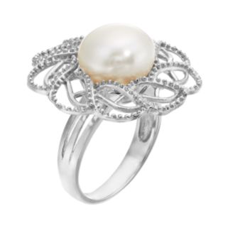 Freshwater Cultured Pearl Sterling Silver Openwork Flower Ring